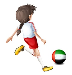 A player using the ball with the flag of the vector