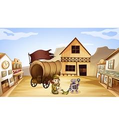 A robot and a girl beside a wagon vector