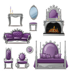 a set of furniture and accessories for living room vector image