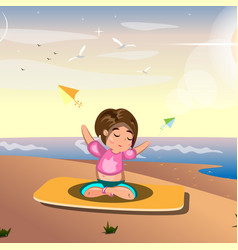 A woman practicing yoga on sea vector