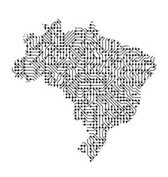 Abstract schematic map of brazil from the black vector