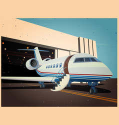 airplane near hangar old poster vector image