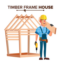American builder building timber frame vector