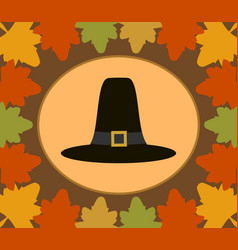 Autumn thanksgiving day background with pilgrim vector