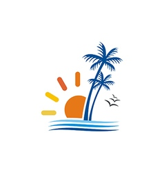 beach palm tree sun seagul logo royalty free vector image rh vectorstock com palm tree free vector download palm tree pattern free vector