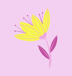 beautiful flower on color background in flat style vector image