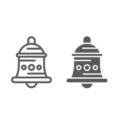 Bell line and glyph icon alarm and ring handbell vector
