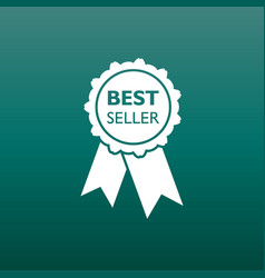 best seller ribbon icon medal in flat style on vector image