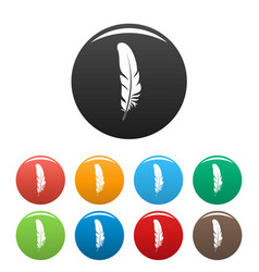 bird feather icons set color vector image