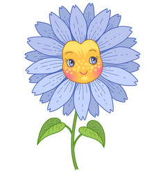 blue flower character vector image