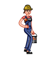 builder bears a paint and a roller vector image
