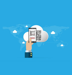 business hand holding smartphone to scan qr code vector image