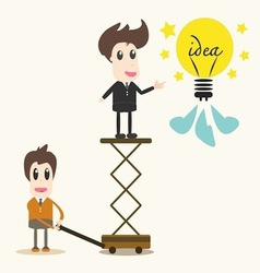 Business man catching a light bulb vector