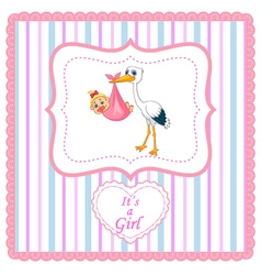 Cartoon stork with baby card vector