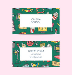 cinema icons business card template vector image