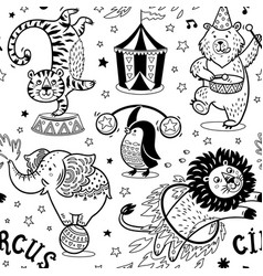 Circus seamless pattern contour background vector