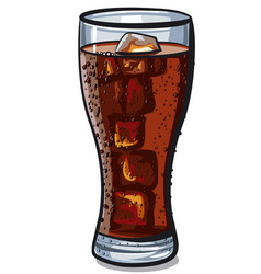 cola glass with ice cube vector image