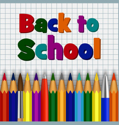 color pencil back to school concept background vector image