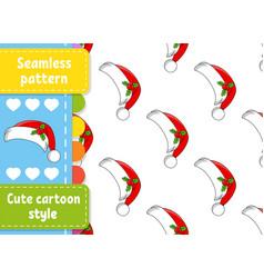 Colored seamless pattern santa claus fur hat vector