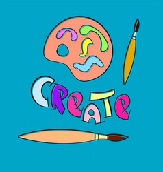 Create paint brush palette craft hobby vector