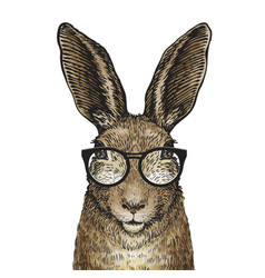 Cute easter bunny with glasses cartoon vector
