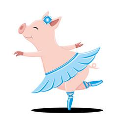 Cute pig dancing vector