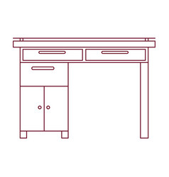 Dark red line contour of wooden home desk vector