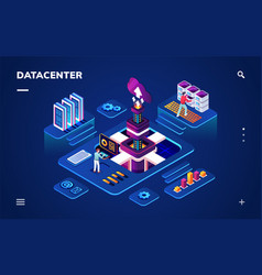 Data center or centre with hardware engineers vector