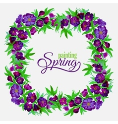 Decorative flowers of watercolor spring wreath vector image
