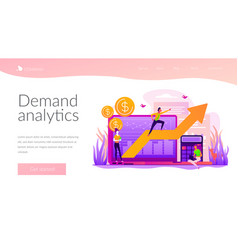 Demand planning landing page template vector