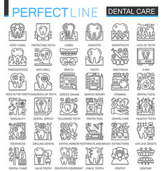 dental care outline mini concept symbols modern vector image