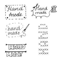 doodle logo handmade lettering black outline vector image