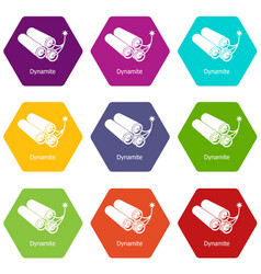 dynamite icons set 9 vector image