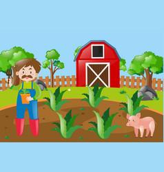 farm scene with farmer planting in field vector image