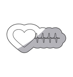 figure sticker heartbeat icon vector image