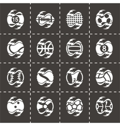 Fire sport balls icon set vector
