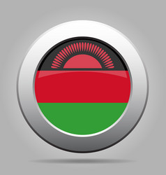 flag of malawi metal gray round button vector image