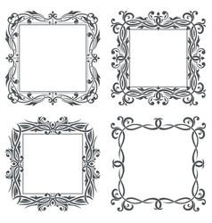 floral decorative square frames black bold vector image