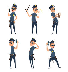 Funny cartoon characters of policemen in action vector