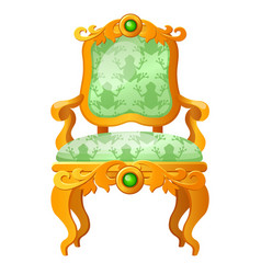 Golden fairy tale royal throne with a print vector