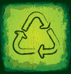 Grunge recycle icon vector