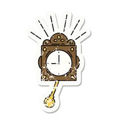 Grunge sticker tattoo style ticking clock vector