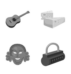 Guitar cheese and other monochrome icon in vector