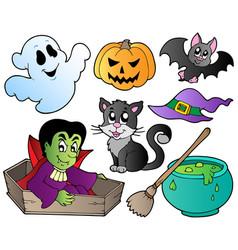 Halloween cute cartoons set 1 vector