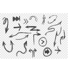 hand drawn black arrows set vector image