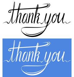 Handwritten inscription set of thank you card vector