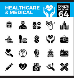 Healthcare and medical pixel perfect icons base vector