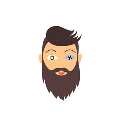hipster bearded man with eye prosthesis vector image