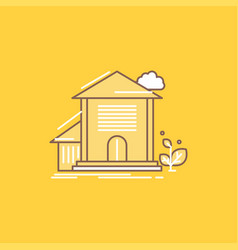 home house apartment building office flat line vector image