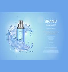 Ice toner ads on blue background spray bottle vector